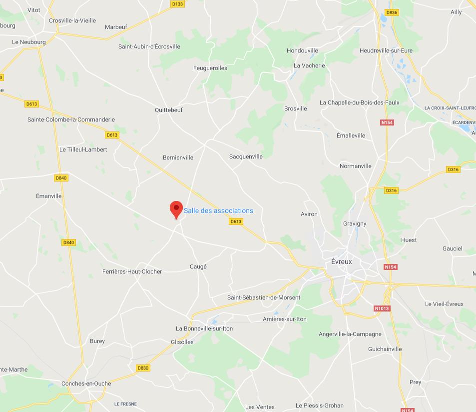 Claville est central par rapport à Evreux, Conches-en-Ouche et Le Neubourg.