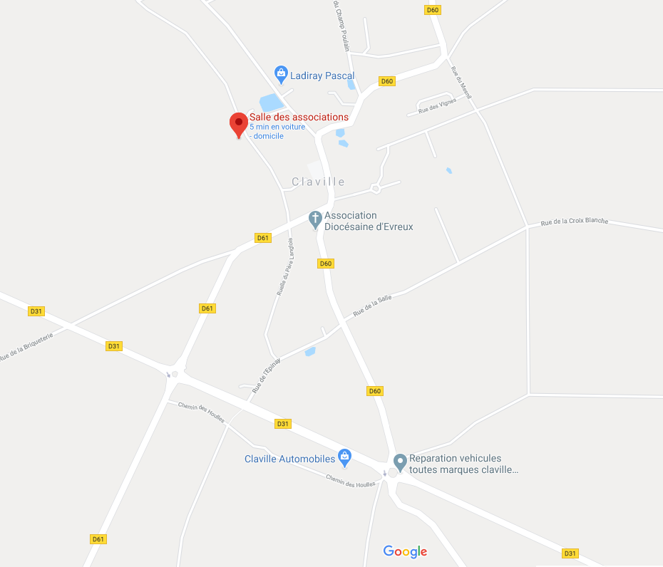 """Dans le village, passer devant la mairie et prendre la C22 direction Tournedos sur 50 mètres puis prendre à gauche à la mare sur """"Rue du Stade""""."""